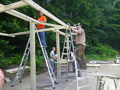 building the picnic shelters